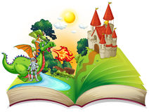 Book of knight and dragon. Illustration Stock Photos