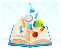 Book of knowledge. Illustration of knowledge symbol coming out from a book Stock Image