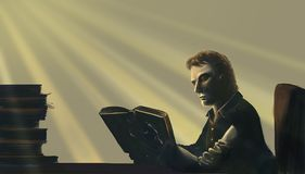 Book knowledge. Illustration of a man reading Stock Photography