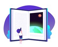Book knowledge concept. Books door to knowledge global library education teaching learning world business vector. Background. Illustration of open door to royalty free illustration