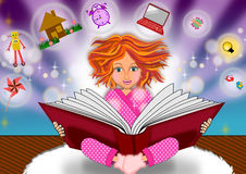 Book of knowledge. Excited face of a little girl when she read book illustrations Stock Images