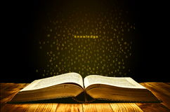 Book of Knowledge. With golden aura and letters flies from the pages Royalty Free Stock Photo