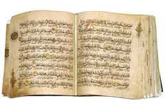 Book Koran opened and isolated Stock Photography