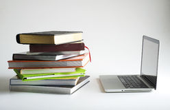 Book and laptop Stock Photo