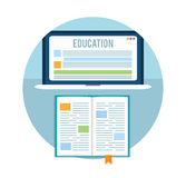 Book with laptop. Education concept Royalty Free Stock Photo