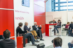 Book launch at the vorwaerts stand at the Frankfurt Book Fair 2014. FRANKFURT AM MAIN, GERMANY - OCT 12, 2014: Panel discussion with Klaus von Dohnanyi (right) stock photos