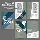 A4 book Layout Design Template. With Cover and 2 spreads of Contents Preview. For design magazines, books, annual reports vector illustration