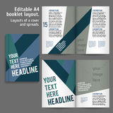 A4 book Layout Design Template. With Cover and 2 spreads of Contents Preview. For design magazines, books, annual reports stock illustration