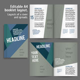 A4 book Layout Design Template. With Cover and 2 spreads of Contents Preview. For design magazines, books, annual reports royalty free illustration