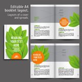 A4 book Layout Design Template. With Cover and 2 spreads of Contents Preview. For design magazines, books, annual reports. ECO style and green colors vector illustration