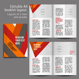 A4 book Layout Design Template. A4 book geometric abstract Layout Design Template with Cover and 2 spreads of Contents Preview. For design magazines, books royalty free illustration