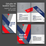 A4 book Layout Design Template. A4 book geometric abstract Layout Design Template with Cover and 2 spreads of Contents Preview. For design magazines, books stock illustration