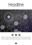 Book layout design template A4. Metallic background. Cover design template with futuristic future sci fi circle with internet technology and business interface royalty free illustration