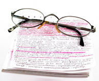 Book for learning. Book and eyeglasses stock photos