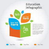 Book with leaves, info graphic about education. Vector illustration and design elements Royalty Free Stock Photo