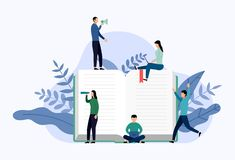 Book library or book festival poster concept banner. Education vector illustration royalty free illustration