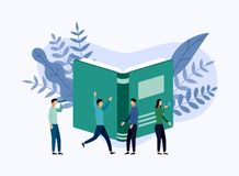 Book library or book festival poster concept banner, education. Vector illustration royalty free illustration