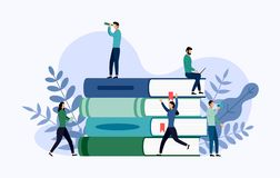 Book library or book festival poster concept banner, education. Vector illustration stock illustration
