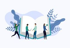 Book library or book festival poster concept banner. Education vector illustration stock illustration