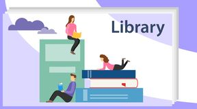 Book library concept banner with characters. Media book library concept. E-book, reading an ebook to study on e-library at school. Book festival concept of a stock illustration