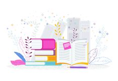 Book library. Reading, knowledge and education concept. Book library. Reading, knowledge and education in school, university, business courses. Trendy flat stock illustration