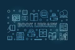 Book Library vector blue outline banner or illustration. Book Library vector concept blue outline horizontal banner or illustration on dark background stock illustration