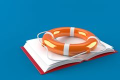 Book with life buoy. On blue background Stock Image