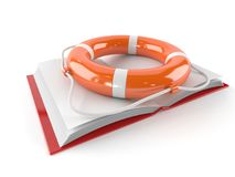 Book with life buoy. Isolated on white background Stock Images