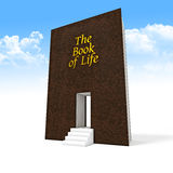 Book of life. 3d image of huge book and 3d stair Royalty Free Stock Photo