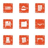 Book life icons set, grunge style. Book life icons set. Grunge set of 9 book life vector icons for web isolated on white background Stock Images