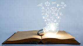 Book and light bulb with business graph Stock Photos