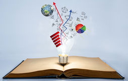 Book and light bulb with business graph Royalty Free Stock Image