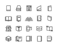 Book line icons. Open magazine, library education set, bookstore order collection. Vector dictionary bible textbook thin. Outline logo royalty free illustration