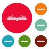 Book literature icons circle set vector. Isolated on white background Stock Photography