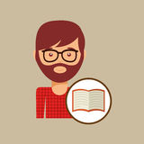 Book literature reading man hipster. Vector illustration eps 10 Royalty Free Stock Photos
