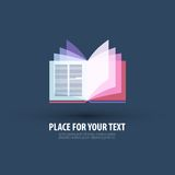 Book. logo, icon, sign, emblem, template. Open book on a dark background. vector illustration Royalty Free Stock Photo