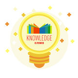 Book logo in lamp with text: Knowledge is power. Royalty Free Stock Photos