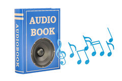 Book with loudspeaker and music notes, audiobook concept. 3D ren Royalty Free Stock Photography