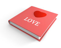 Book of love. Pink book titled love with 3D heart on the cover Stock Photos
