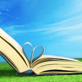 Book love on a field. Book pages folded into a heart shape on the grass Stock Photography