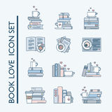 Book love icon set for book and coffee lovers. Book love icon set. Book stacks, coffee or tea mugs and paper cups. Heart elements as steam, tea tag or cookie. I Royalty Free Stock Photos