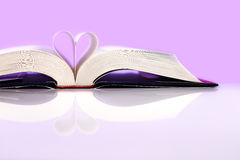 The Book of Love. Book of love on pink background. Love inspired stories show that faith, forgiveness and hope have the power to lift spirits and change lives royalty free stock photo