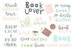 Free Book Lover. Hand Drawn Quotes And Words About Books Royalty Free Stock Image - 115019216