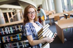 Book lover ready to study hard. Beautiful book lover women ready to study hard stock image