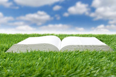 Book lying on grass Stock Photography