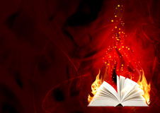Book of magic fire. Horizontal background Royalty Free Stock Photos