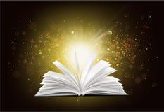 Book. Magic magical light tales glow open Stock Image