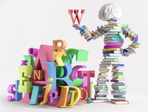 Book man and characters Royalty Free Stock Image