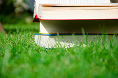 Book. Many book on the green grass Stock Photos