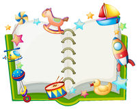 A book with many toys. Illustration of a book with many toys on a white backround Royalty Free Stock Image